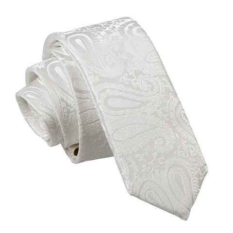 TiesDirect.co.uk - Paisley Skinny Tie Colour ivory