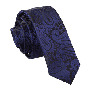 TiesDirect.co.uk - Paisley Skinny Tie Colour navy-blue