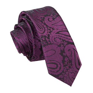 TiesDirect.co.uk - Paisley Skinny Tie Colour purple