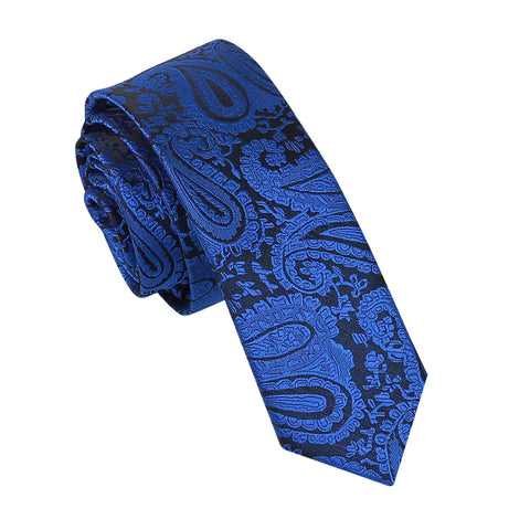 TiesDirect.co.uk - Paisley Skinny Tie Colour royal-blue