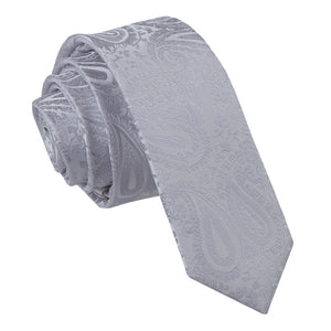 TiesDirect.co.uk - Paisley Skinny Tie Colour silver