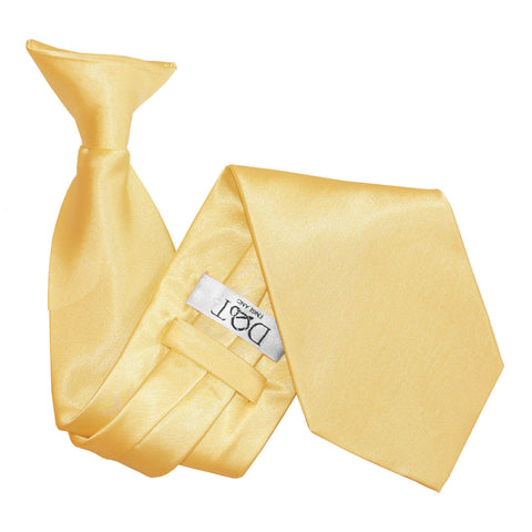 TiesDirect.co.uk - Plain Satin Clip-On Tie Colour pale-yellow