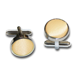 TiesDirect.co.uk - Plain Satin Silver Plated Cufflinks Colour pale-yellow