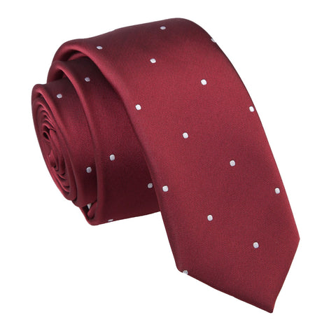 TiesDirect.co.uk - Pin Dot Skinny Tie Colour burgundy