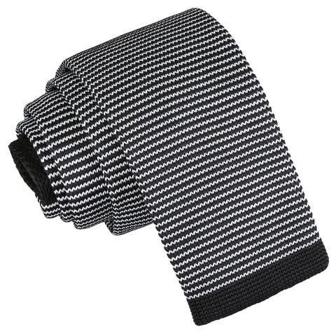 Pin Stripe Knitted Skinny Tie - White & Black