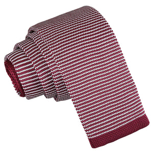 Pin Stripe Knitted Skinny Tie - White & Burgundy