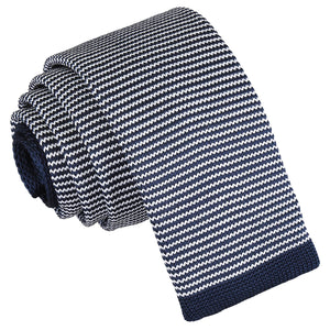 Pin Stripe Knitted Skinny Tie - White & Navy