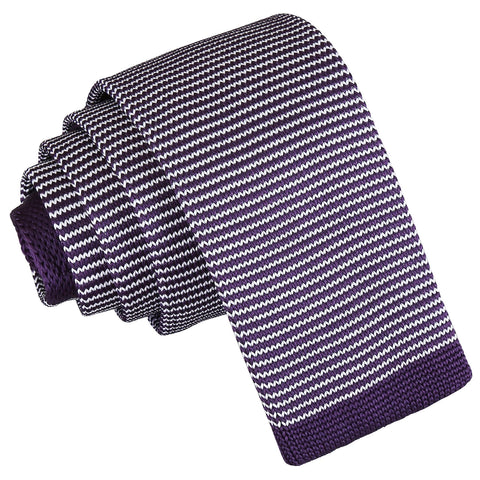 Pin Stripe Knitted Skinny Tie - White & Purple