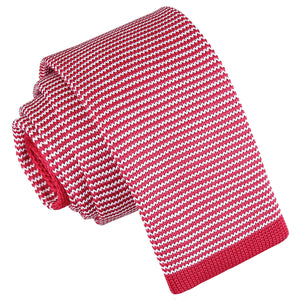Pin Stripe Knitted Skinny Tie - White & Red