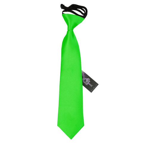 TiesDirect.co.uk - Plain Satin Elasticated Tie - Boys Colour apple-green