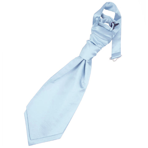 TiesDirect.co.uk - Plain Satin Pre-Tied Ruche Cravat - Boys Colour baby-blue