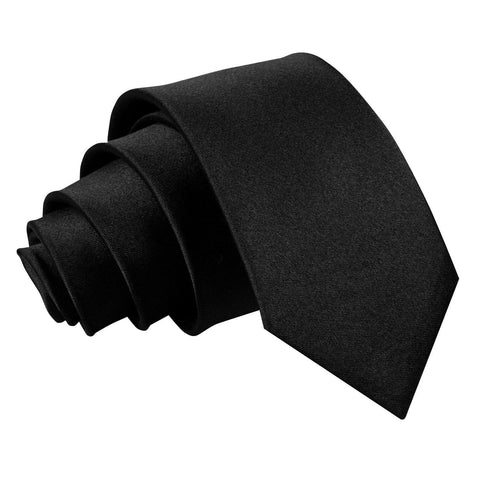 TiesDirect.co.uk - Plain Satin Regular Tie - Boys Colour black