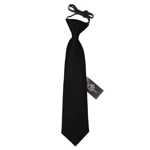 TiesDirect.co.uk - Plain Satin Elasticated Tie - Boys Colour black