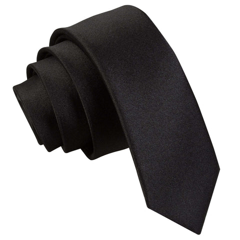 TiesDirect.co.uk - Plain Satin Skinny Tie Colour black