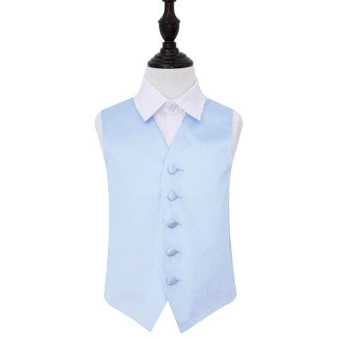TiesDirect.co.uk - Plain Satin Waistcoat - Boys Colour baby-blue
