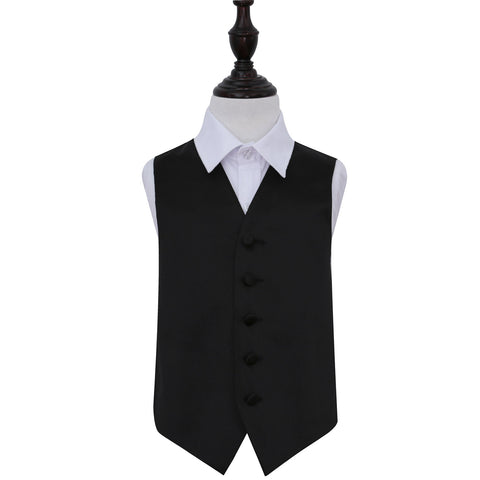 TiesDirect.co.uk - Plain Satin Waistcoat - Boys Colour black