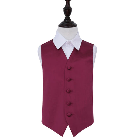 TiesDirect.co.uk - Plain Satin Waistcoat - Boys Colour burgundy