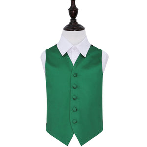TiesDirect.co.uk - Plain Satin Waistcoat - Boys Colour emerald-green