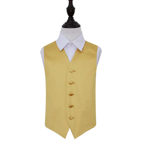 TiesDirect.co.uk - Plain Satin Waistcoat - Boys Colour gold