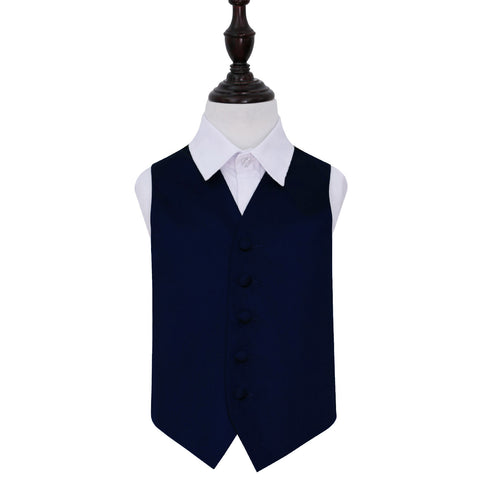 TiesDirect.co.uk - Plain Satin Waistcoat - Boys Colour navy-blue