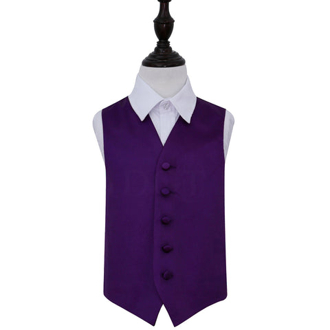 TiesDirect.co.uk - Plain Satin Waistcoat - Boys Colour purple