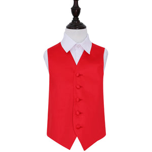 TiesDirect.co.uk - Plain Satin Waistcoat - Boys Colour red