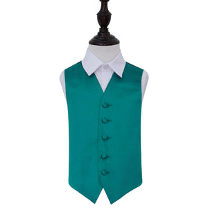 TiesDirect.co.uk - Plain Satin Waistcoat - Boys Colour teal
