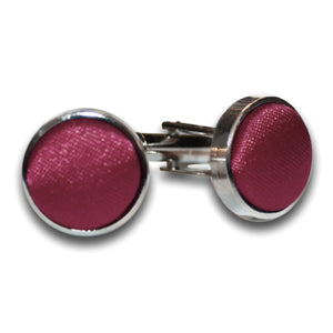 TiesDirect.co.uk - Plain Satin Silver Plated Cufflinks Colour burgundy