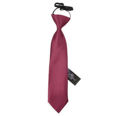 TiesDirect.co.uk - Plain Satin Elasticated Tie - Boys Colour burgundy