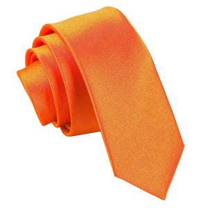 TiesDirect.co.uk - Plain Satin Skinny Tie Colour burnt-orange