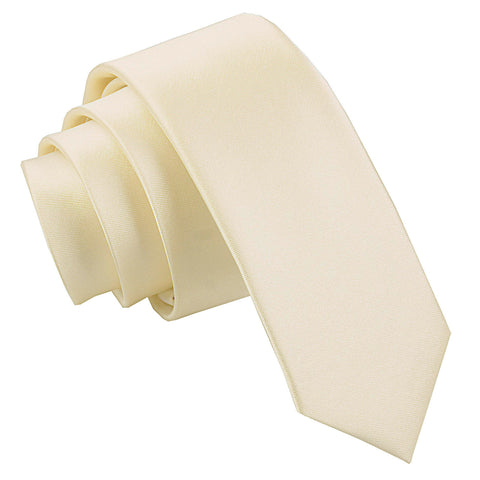 TiesDirect.co.uk - Plain Satin Skinny Tie Colour champagne