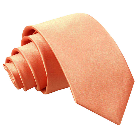 TiesDirect.co.uk - Plain Satin Regular Tie - Boys Colour coral
