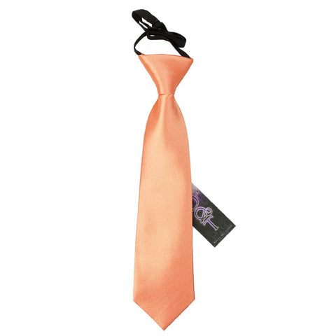 TiesDirect.co.uk - Plain Satin Elasticated Tie - Boys Colour coral