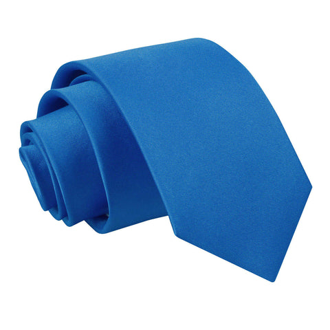 TiesDirect.co.uk - Plain Satin Regular Tie - Boys Colour electric-blue