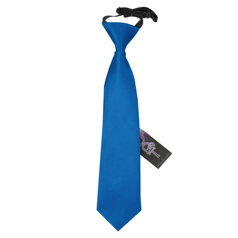 TiesDirect.co.uk - Plain Satin Elasticated Tie - Boys Colour electric-blue
