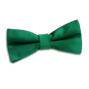 TiesDirect.co.uk - Plain Satin Pre-Tied Bow Tie - Boys Colour emerald-green