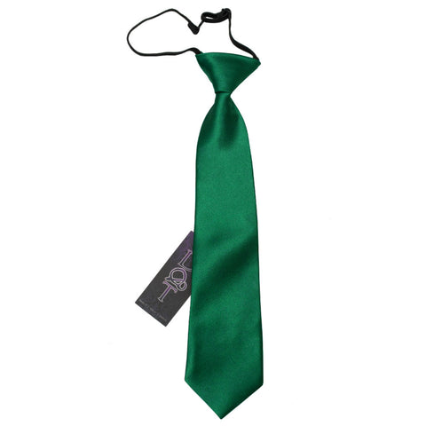 TiesDirect.co.uk - Plain Satin Elasticated Tie - Boys Colour emerald-green