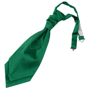 TiesDirect.co.uk - Plain Satin Pre-Tied Ruche Cravat Colour emerald-green
