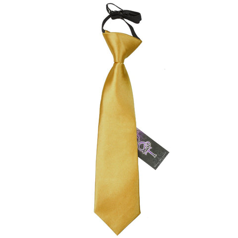 TiesDirect.co.uk - Plain Satin Elasticated Tie - Boys Colour gold