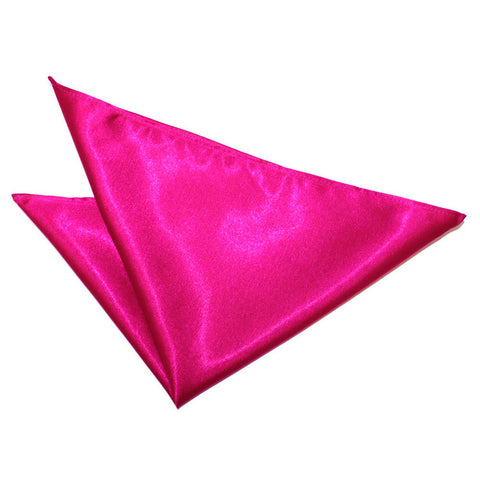TiesDirect.co.uk - Plain Satin Handkerchief Colour hot-pink