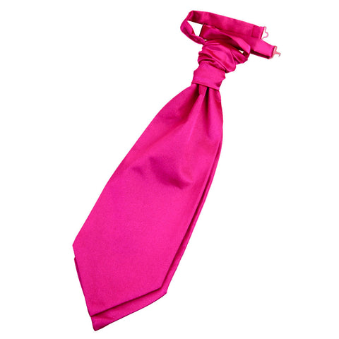 TiesDirect.co.uk - Plain Satin Pre-Tied Ruche Cravat Colour hot-pink