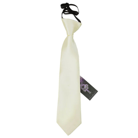 TiesDirect.co.uk - Plain Satin Elasticated Tie - Boys Colour ivory