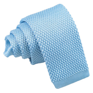 Plain Knitted Tie - Boys - Baby Blue
