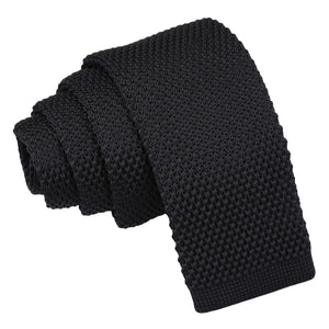 Plain Knitted Tie - Boys - Black