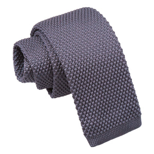 Plain Knitted Tie - Boys - Charcoal