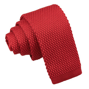Plain Knitted Tie - Boys - Crimson Red
