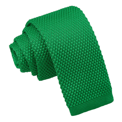 Plain Knitted Tie - Boys - Forest Green