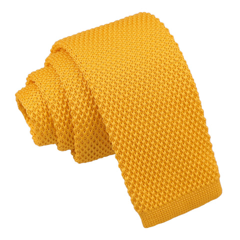 Plain Knitted Tie - Boys - Marigold