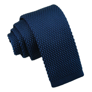 Plain Knitted Tie - Boys - Navy Blue