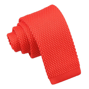 Plain Knitted Tie - Boys - Red